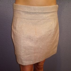 J.Crew Beige w/Gold Flecks Short Aline Skirt